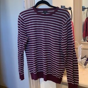 J Crew Striped Sweater in Burgundy and Gray